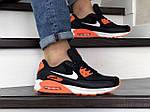 Чоловічі кросівки Nike Air Max 90 (чорно-білі з помаранчевим) 9054, фото 3