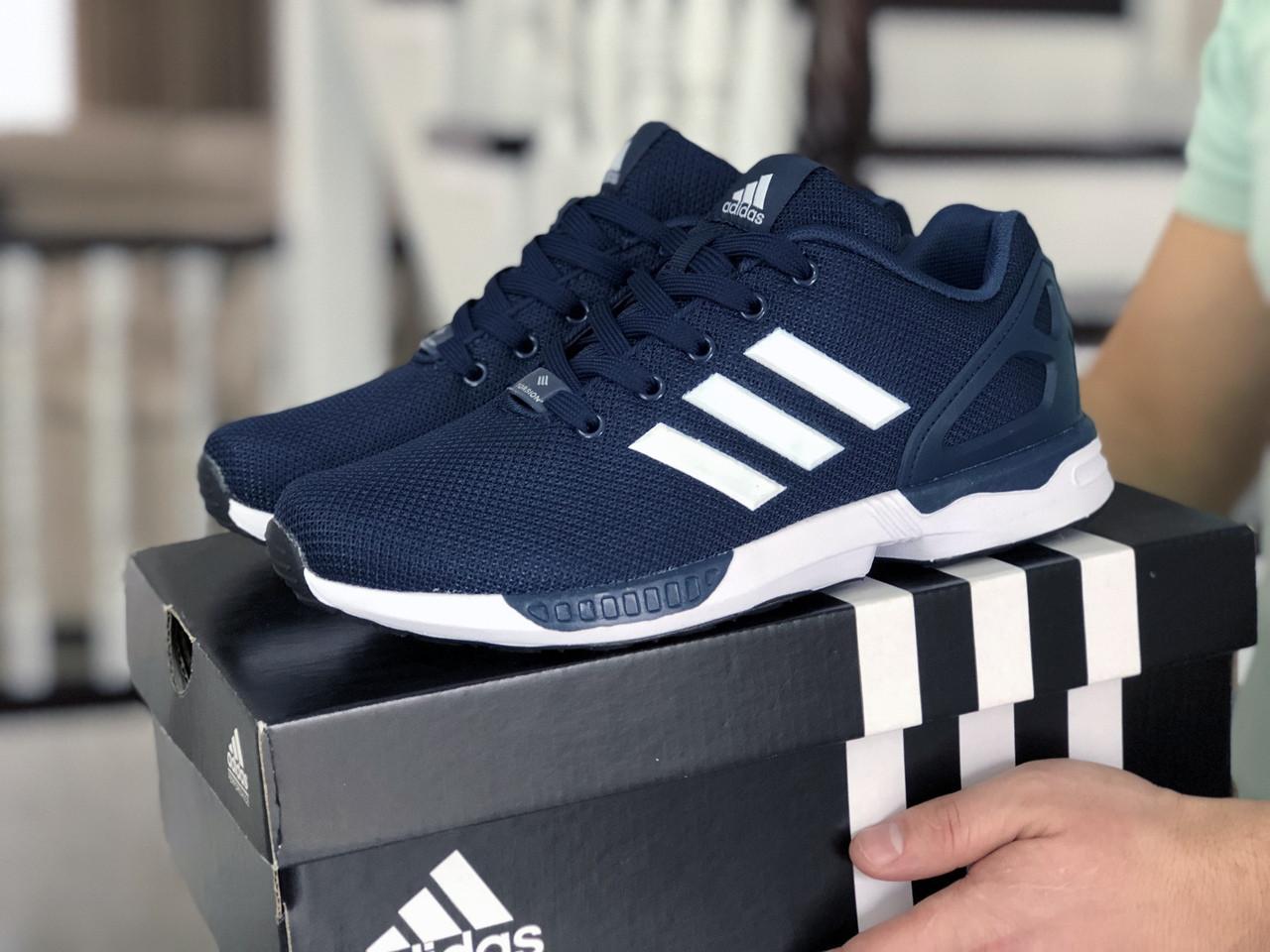 Мужские кроссовки Adidas Zx Flux (темно-синие с белым) 9060