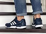 Мужские кроссовки Adidas Zx Flux (темно-синие с белым) 9060, фото 5