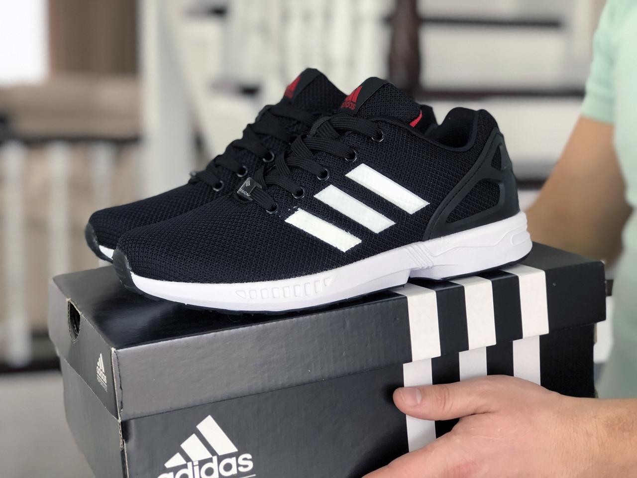 Мужские кроссовки Adidas Zx Flux (черно-белые) 9061