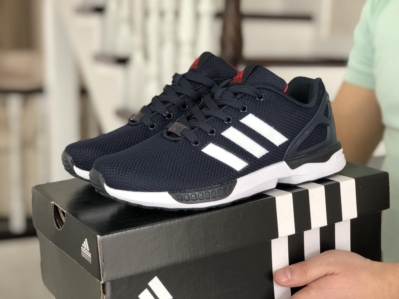 Чоловічі кросівки Adidas Zx Flux (темно-сині з білим і червоним) 9062