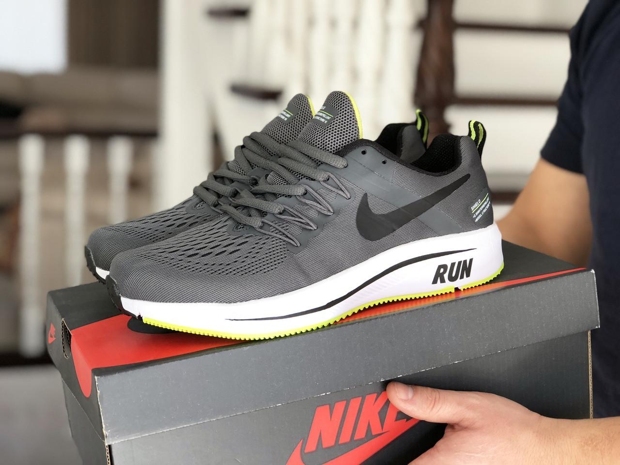 Мужские кроссовки Nike Run shield (серо-белые с салатовым) 9069