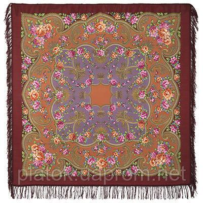 Откровение 1551-16, павлопосадский платок шерстяной с шерстяной бахромой