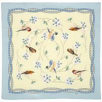 Звонкое утро 10040-11, павлопосадский шейный платок (крепдешин) шелковый с подрубкой, фото 1