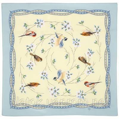 Звонкое утро 10040-11, павлопосадский шейный платок (крепдешин) шелковый с подрубкой