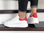 Женские кроссовки Alexander McQueen (бело-красные) 9082, фото 2