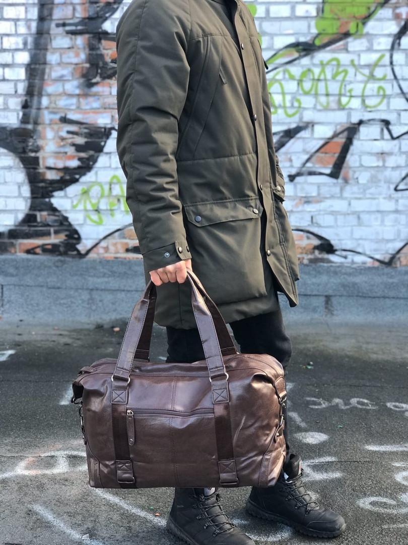Мужская кожаная сумка (коричневая) 1232