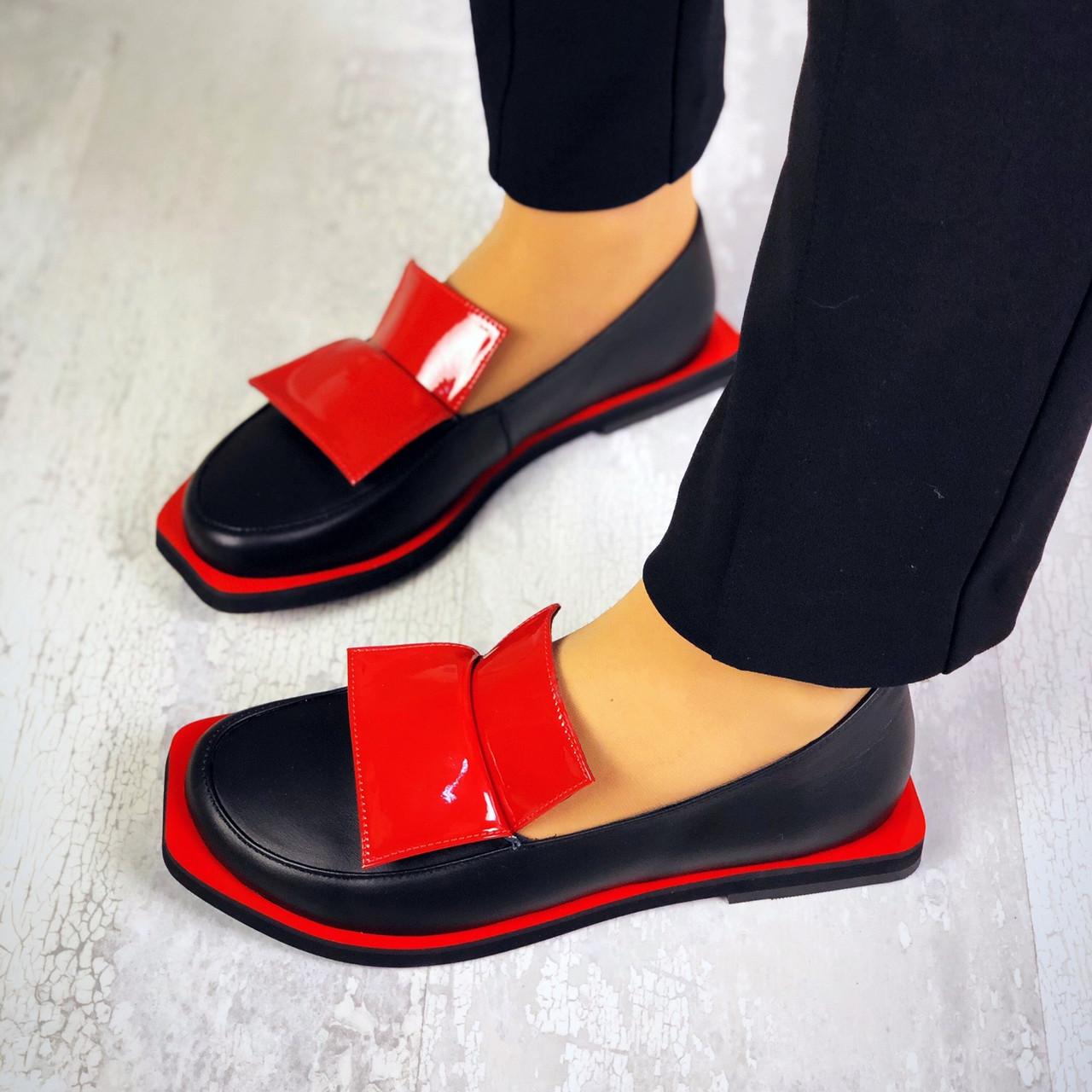 Модные туфли из натуральной кожи 36-40 р чёрный+красный