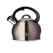 Чайник со свистком 3,0 л из нержавеющей стали, капсульное дно, индукция, ручка чёрная SOFT TOUCH