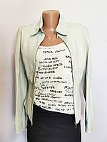Куртка женская кожаная жакет мята Autograph by Marks & Spencer (размер 42, ХS, UK8)