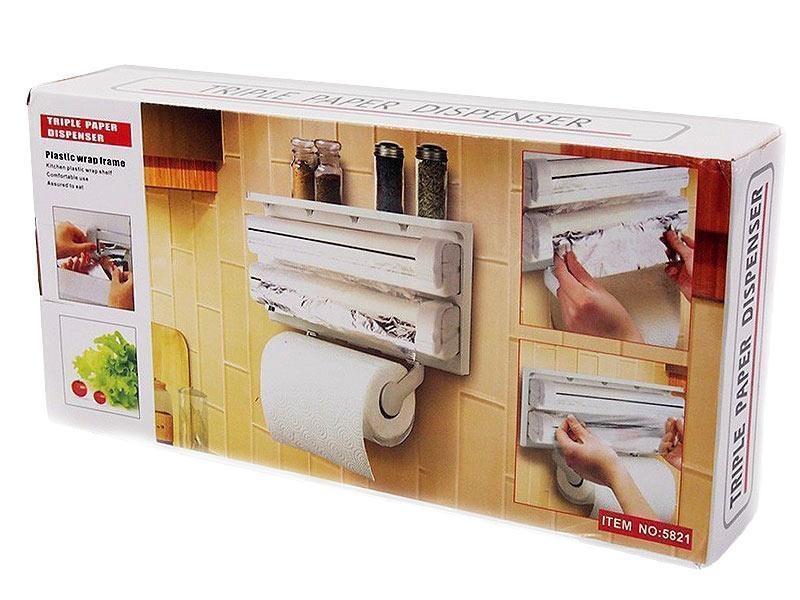 [ОПТ] Кухонный диспенсер тройной для кухонных полотенец фольги и пищевой пленки Kitchen Roll Triple Paper