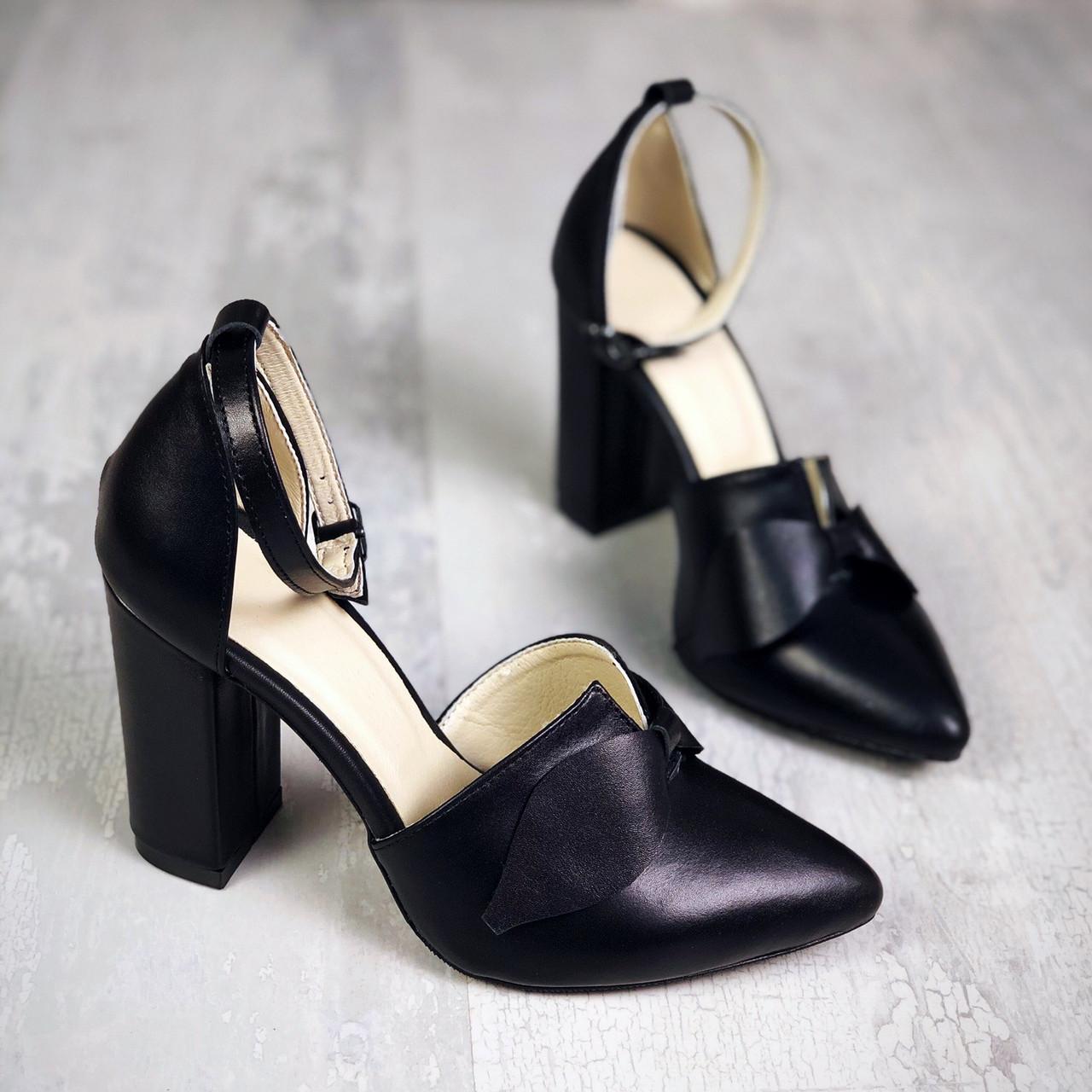 Шикарные кожаные туфли на каблучке 35-40 р чёрный