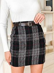 Женская твидовая юбка с карманами и поясом (в расцветках)