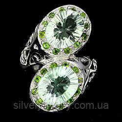 Серебряное кольцо с ПРАЗИОЛИТОМ (зеленый аметист), серебро 925 пр. Размер 16,25