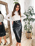Женская черная юбка-карандаш из эко-кожи с поясом, фото 3