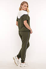 Трикотажний костюм для повних жінок оливка, фото 2