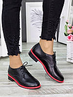 Стильные женские туфли-оксфорды с неоновой вставкой