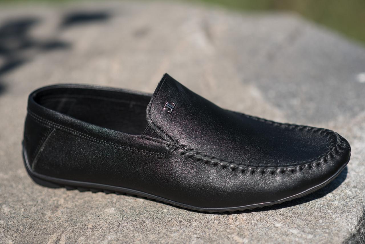 Мокасины мужские кожаные черные