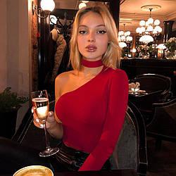 Женское боди Clarissa hot passion через одно плечо