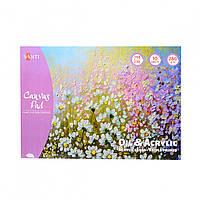 Холст хлопковый в альбоме для эскизов А5 Santi масляными и акриловыми красками 280 г/м2,10 листов 742551