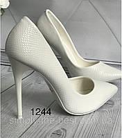 Туфлі жіночі класичні  білі,рептилія, фото 1