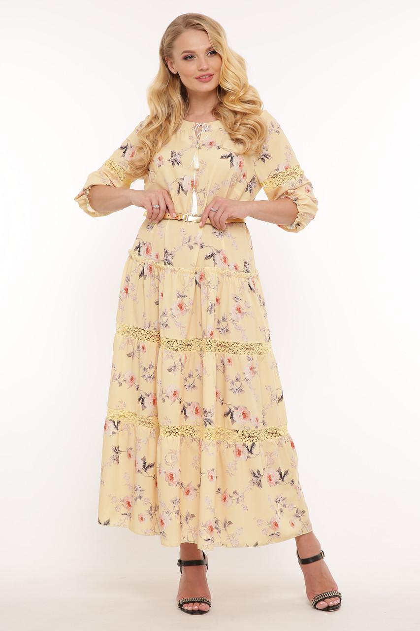 Желтое нежное платье для полных на лето Анна