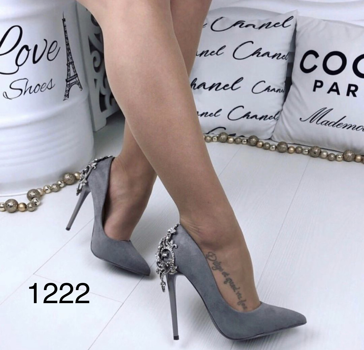 Серые женские туфли нарядные