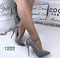 Сірі жіночі туфлі нарядні, фото 1
