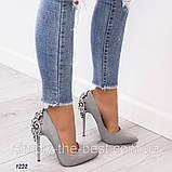 Серые женские туфли нарядные, фото 2