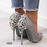 Серые женские туфли нарядные, фото 3