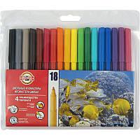 Фломастеры Koh-i-Noor 7710ET, набор из 18 цветов, полиэтиленовая упаковка