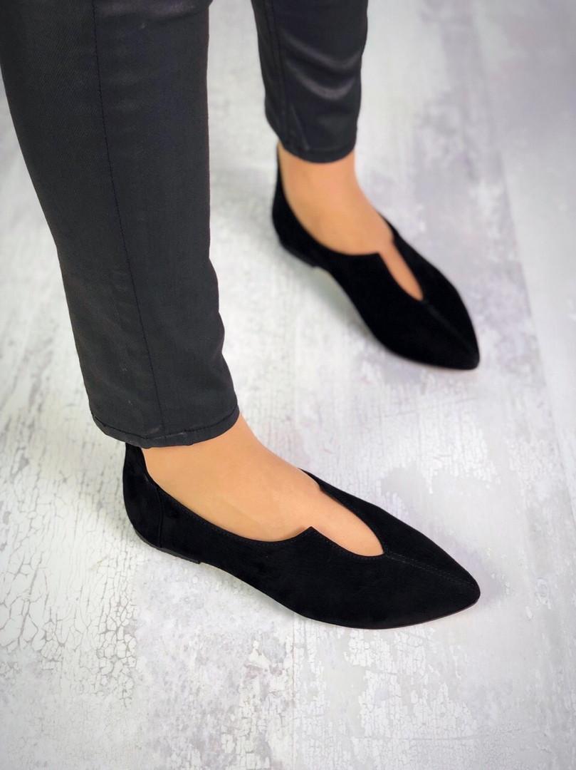 Замшевые туфли балетки 36-40 р чёрный