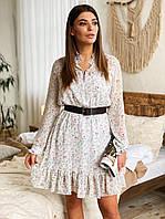Женское нежное шифоновое платье с цветочным принтом