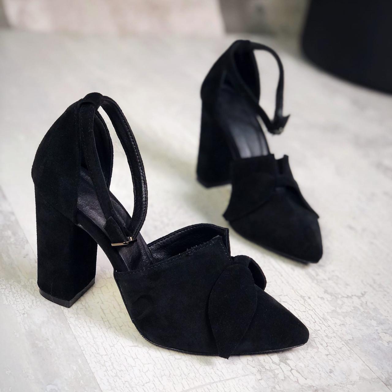 Шикарные замшевые туфли на каблучке 35-40 р чёрный