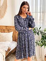 Женское нежное синее платье креп-штапель с цветочным принтом