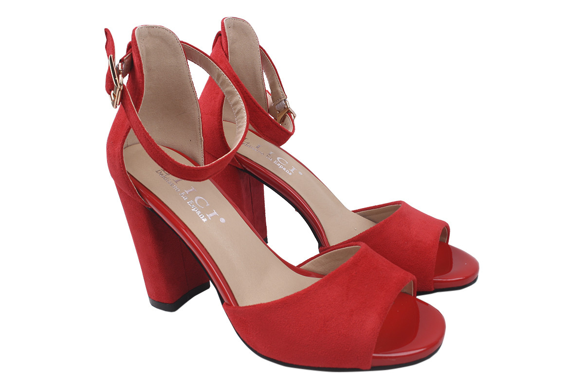 Босоніжки жіночі Liici еко-замша, колір червоний, розмір 35-40