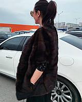 Женская норковая поперечка безрукавка жилетка размера L гарантия