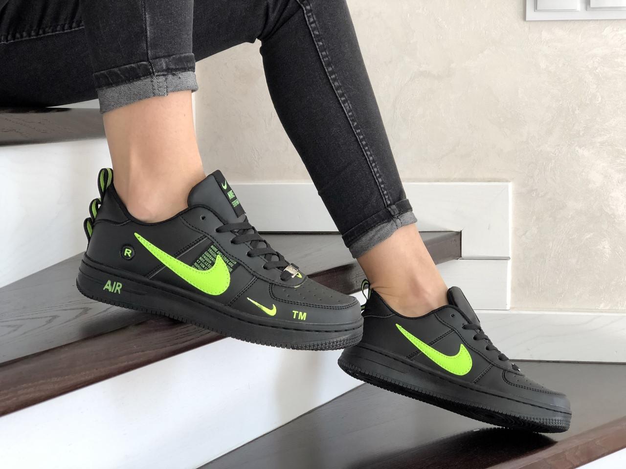 Женские кроссовки Nike Air Force (черно-салатовые) 9099