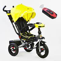 Детский трехколесный велосипед 6088 Best Trike ЖЕЛТЫЙ , НАДУВНЫЕ КОЛЕСА , поворотное сиденье , с пультом