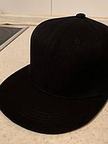 Чистая чёрная кепка текстиль без надписей с прямым козырьком  Snapback для лого пустышка регулируемая, фото 2