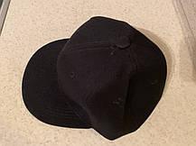 Чистая чёрная кепка текстиль без надписей с прямым козырьком  Snapback для лого пустышка регулируемая, фото 3
