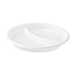 Тарелка пластиковая круглая на 2 секции - 100 шт, D205
