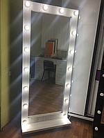 Гримерное підлогове дзеркало на підставці Біле структурний