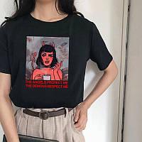Стильная женская футболка с принтом Ангел-Демон