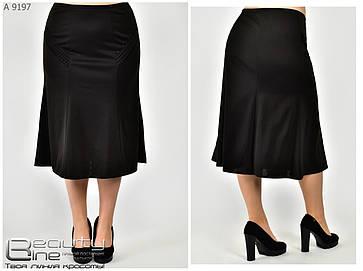 Женская юбка-годе чёрная батал с 52 по 62 размер, фото 2