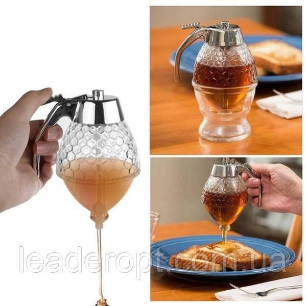 ОПТ Контейнер диспенсер-ємність для меду і соусів з ручкою UKC Honey dispenser об'єм 230 мл скло акрил