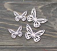 Бабочки -розовые дерев. *4 шт