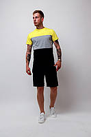 Мужской летний комплект шорты футболка жёлтый