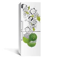 Виниловая наклейка на холодильник Лайм и Лед 01 (фотопечать цитрус, декор холодильника пленка самоклеющаяся)