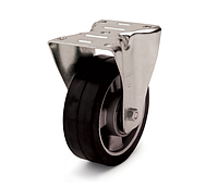 Колесо из эластичной резины, диаметр 125 мм, с неповоротным стандартным кронштейном
